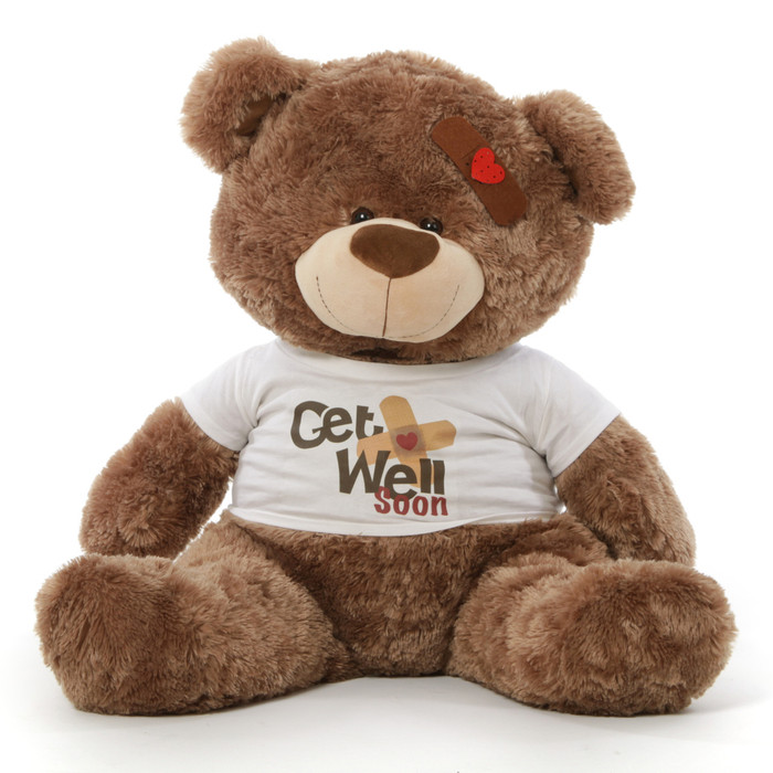 "37"" Get Well Soon Teddy Bear, Mocha Brown"