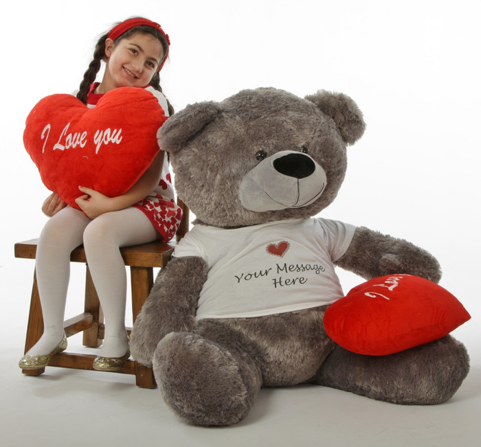 "Diamond Shags Valentine's Day Teddy Bear with Personalized T-Shirt and red ""I love you"" heart pillow –  52in"