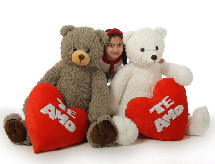 Te Amo! Huge 42in Valentine's Day Teddy Bears, Bell (white) Max (khaki)