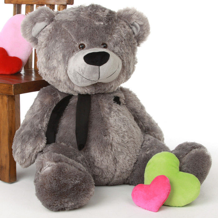 Diamond Shags silver teddy bear 35in