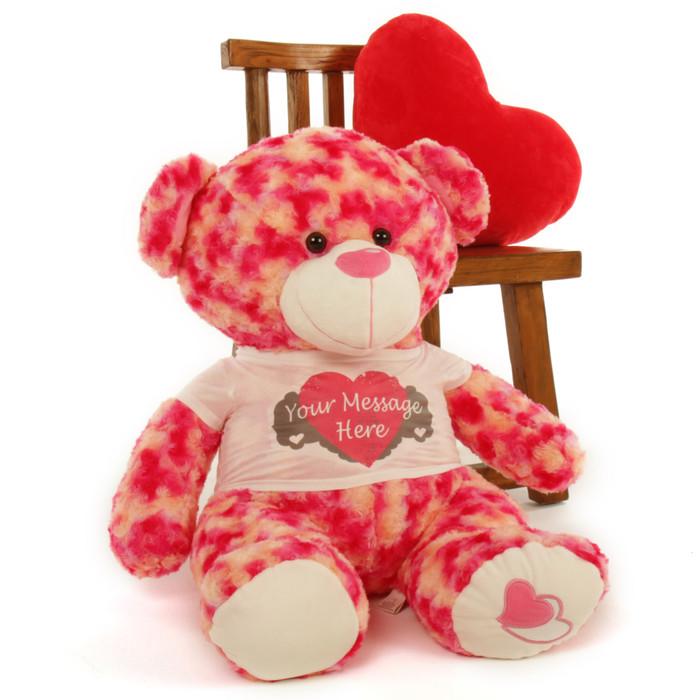 ... 2½ Ft Personalized Pink U0026 Cream Valentineu0027s Day Teddy Bear, Sassy Big  Love Heart Pillow ...