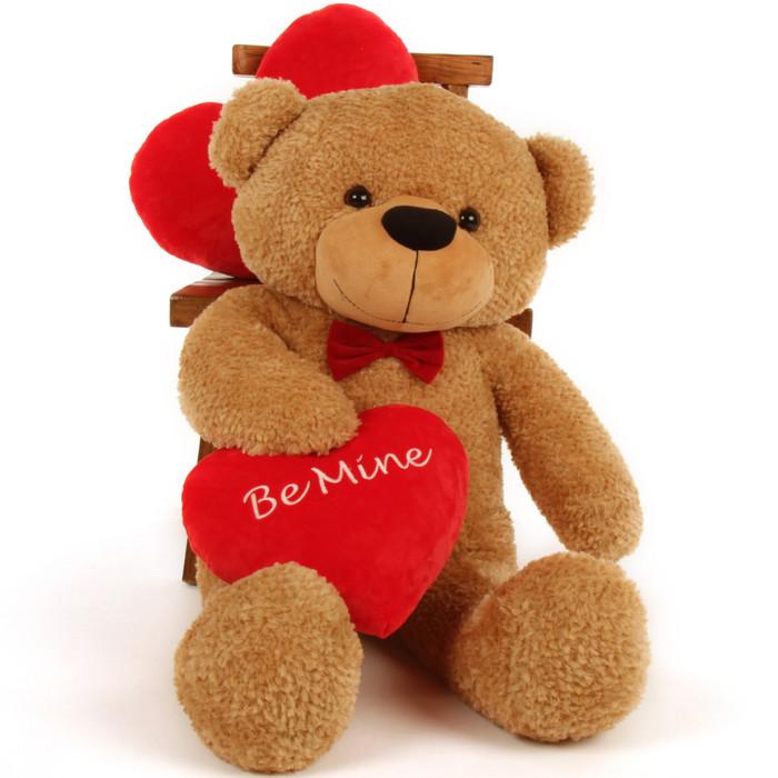 "3 Foot ""Be Mine"" Valentine's Day teddy bear, Shaggy Cuddles"