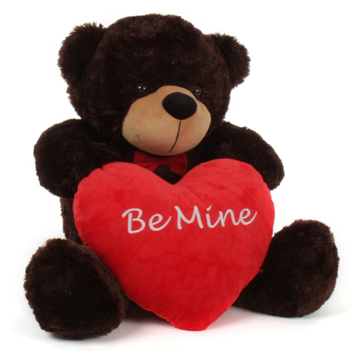 "3 Foot ""Be Mine"" Valentine's Day Teddy Beart with red heart pillow"