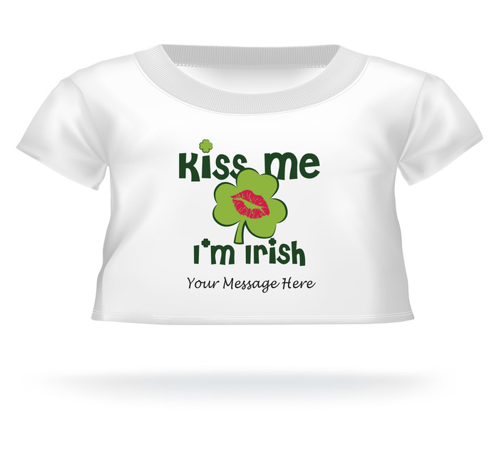 'Kiss Me I'm Irish' Giant Teddy Bear Personalized Shirt