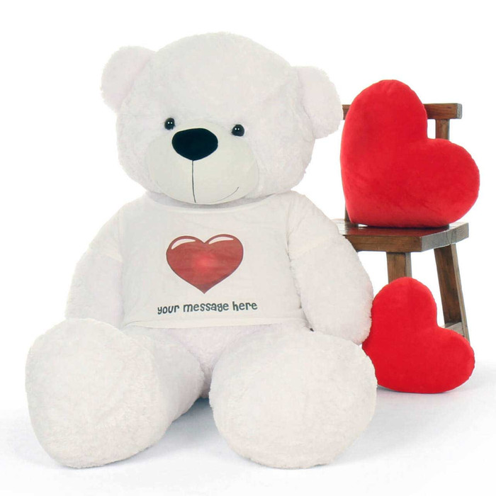 60in life size Personalized extra fluffy White Teddy Bear Coco Cuddles in Red Heart Shirt gift