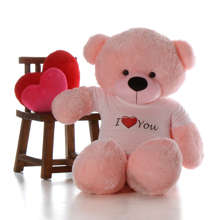 60in Giant Pink Teddy for Valentine's Day gift Lady Cuddles with I Love You shirt