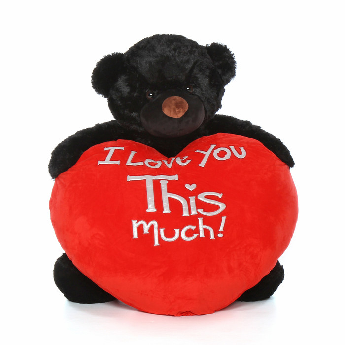 4ft Cuddles Life Size Valentineu0027s Day Gift Giant Teddy Bear Black Fur Red  Plush Heart ...
