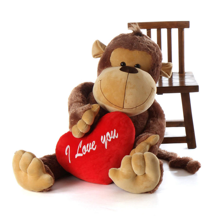 5ft Life Size Stuffed Monkey Big Daddy with I love you heart pillow from Giant Teddy brand