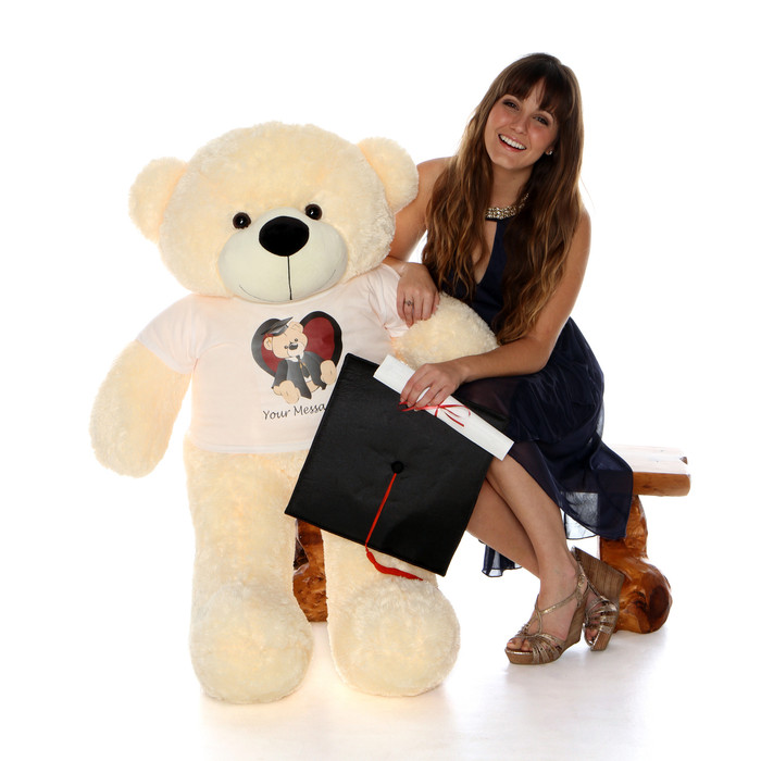 Life Size 48in Personalized Graduation Teddy Bear Vanilla Cozy Cuddles