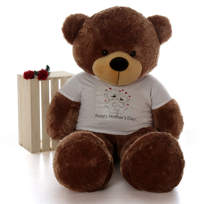 5ft Mocha Sunny Cuddles teddy bear in Happy Mothers Day shirt with hugging bears design
