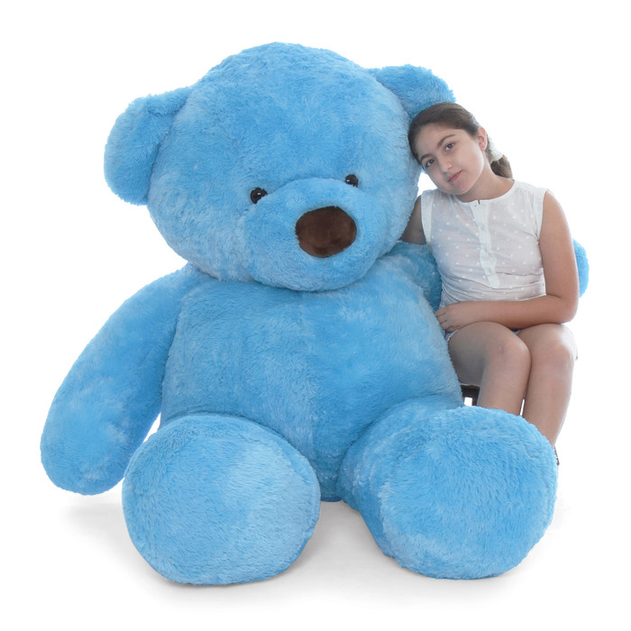 Biggest blue teddy bear huggable Sammy Chubs sky blue fur 6ft tall Giant Teddy brand