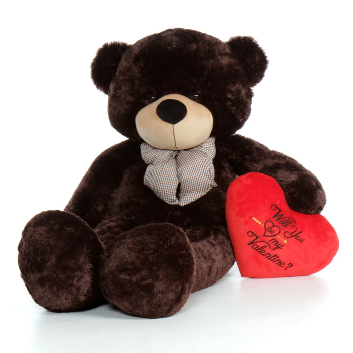 "60in Chocolate Brown Valentine's Day Teddy Bear Brownie Cuddles with red heart ""Will You Be My Valentine?"" pillow"