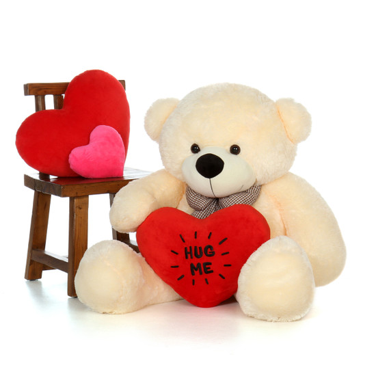 48in Big Life Size Valentineu0027s Day Teddy Bear With Beautiful U0027Hug Meu0027 Red  Heart Pillow