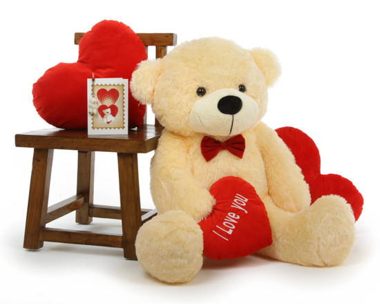 Außergewöhnlich Cozy Love Cuddles With Red I LOVE YOU Heart Cream Teddy Bear 38in