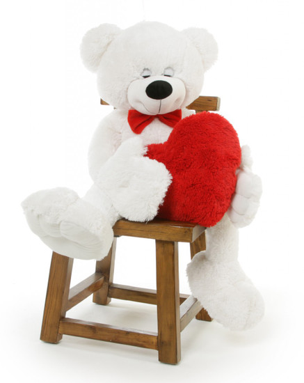 4 1/2 Feet, Paw Mittens Unique Teddy Bear With Heart, Giant White