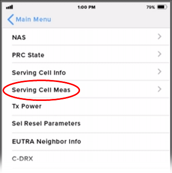 iPhone iOS 11 Field Test Mode LTE screen for Intel chips on AT&T or T-Mobile