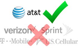 The Cel-Fi PRO Smart Signal Booster P34-2/4/5/12 only works on AT&T's network