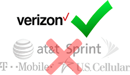 The Cel-Fi DUO+ Smart Signal Booster D32-2/4/13 only works on Verizon's network