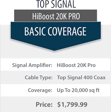 Top Signal 2X HighBoost 20K Pro double coverage comparison chart 1x