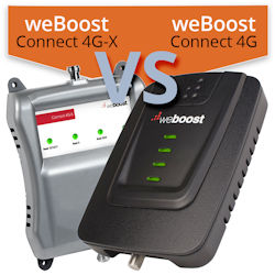 What are the differences between the weBoost Connect 4G and weBoost Connect 4G-X?