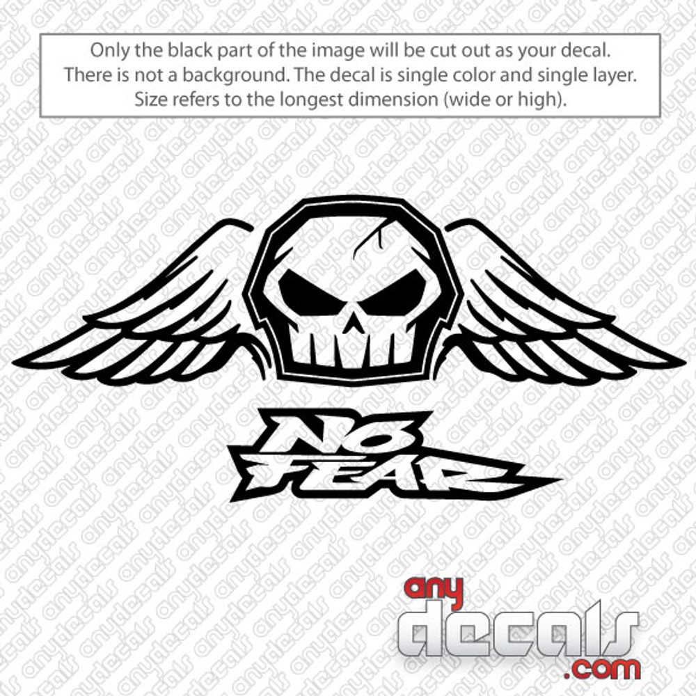 Motocross Car Decals No Fear Skull With Wings Car Decal