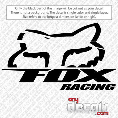 "Fox Head and ""FOX RACING"" words, motocross decals, fox racing decals, car decals, car stickers, decals for cars, stickers for cars"