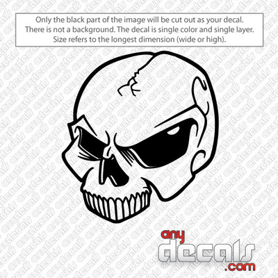 Cracked Skull car decals