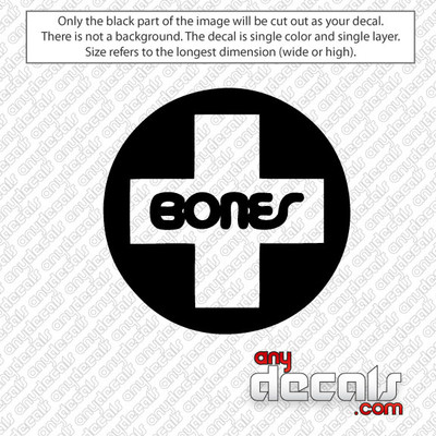 Bones Skateboard Logo Car Decal, surf decals, skate decals, surf stickers, skate stickers,skate car decals, car decals, car stickers, decals for cars, stickers for cars