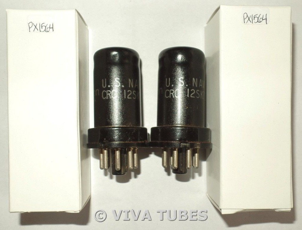 NOS Matched Pair RCA USA US-NAVY-CRC-12SK7 Metal Vacuum Tubes 100+%