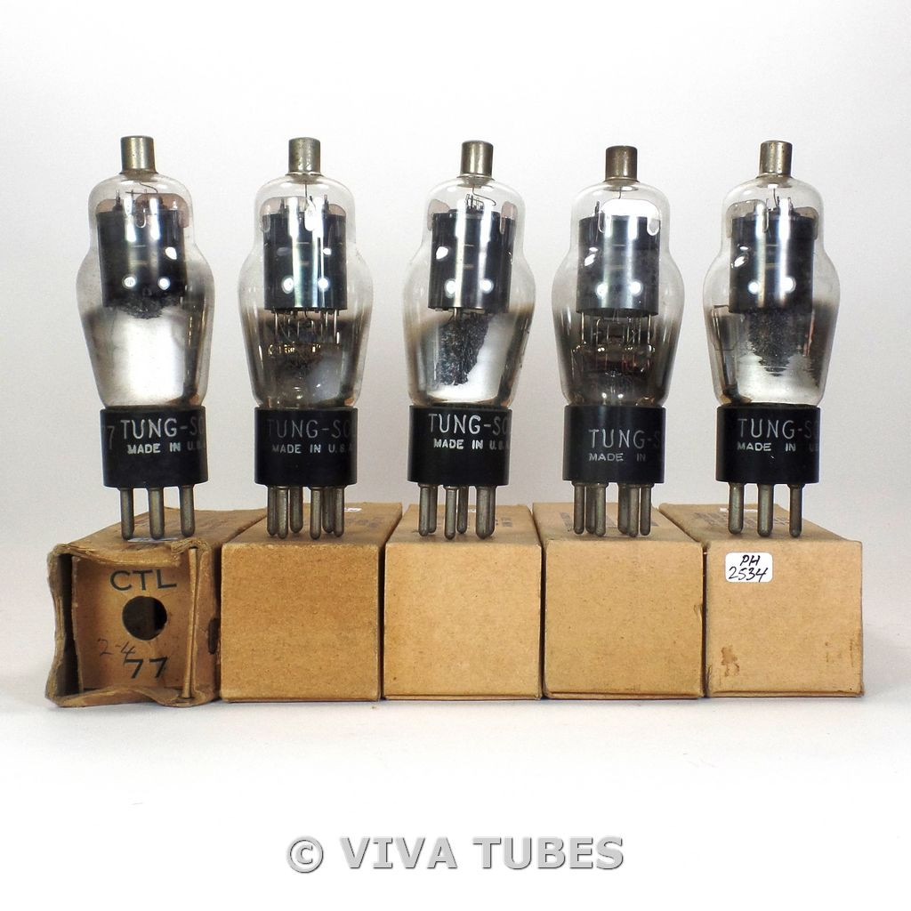 True NOS NIB Matched Sleeve (5) Tung-Sol USA Type CTL-77 Grey Plate Vacuum Tubes