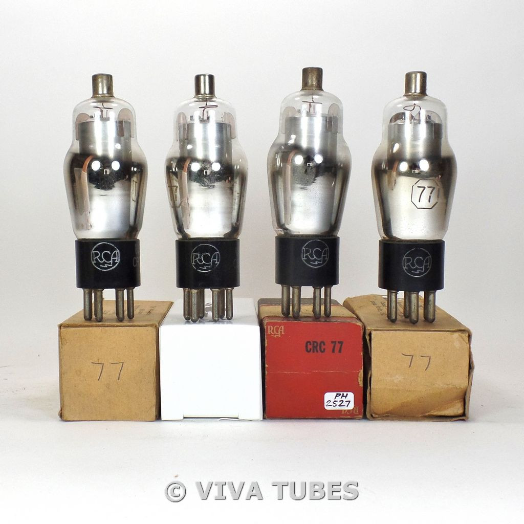 Tests NOS Matched Quad (4) RCA USA Type USN-CKR-77 Silver Plate Vacuum Tubes