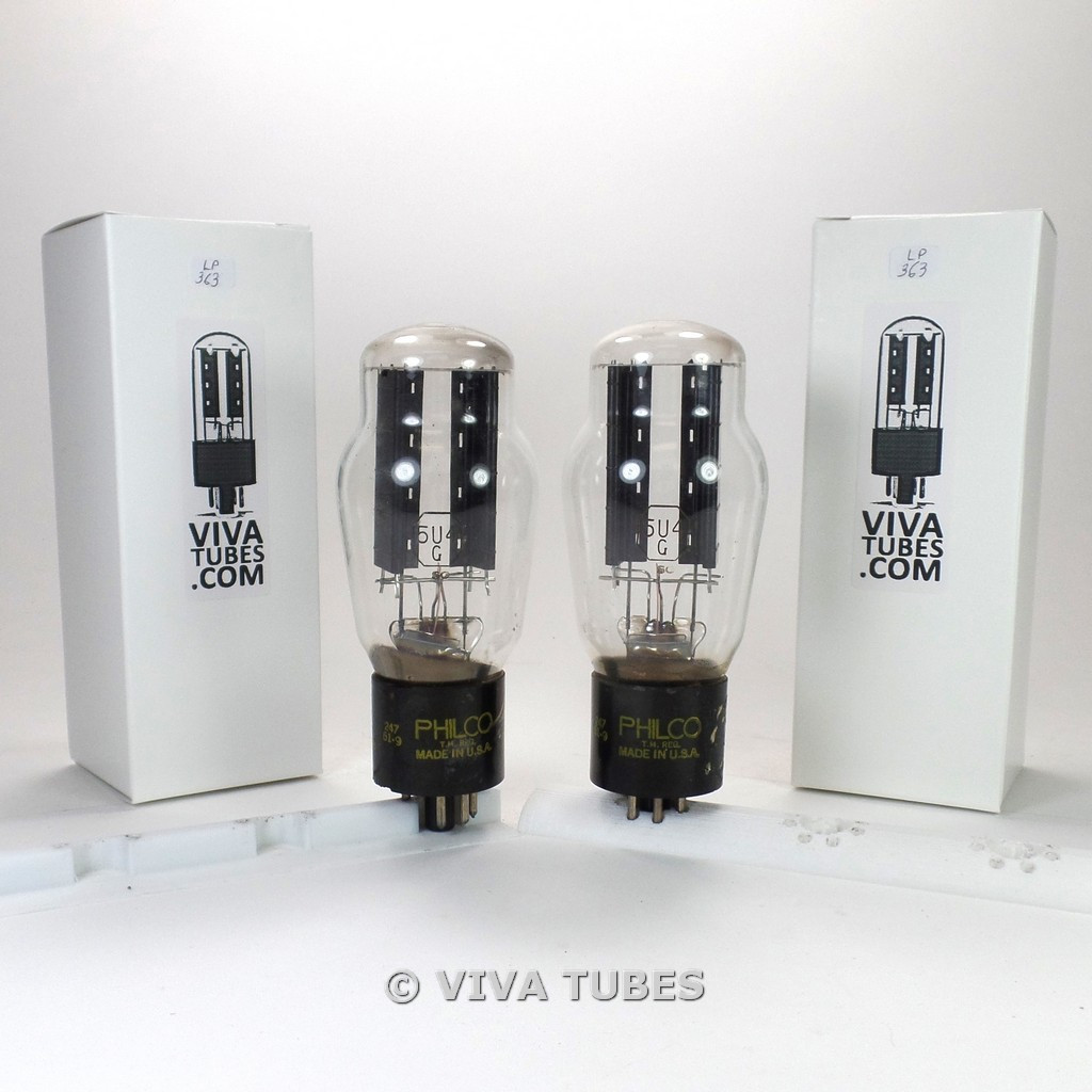 Tests NOS Date Matched Pair National Union 5U4G Cracked Base Rattle Vacuum Tubes