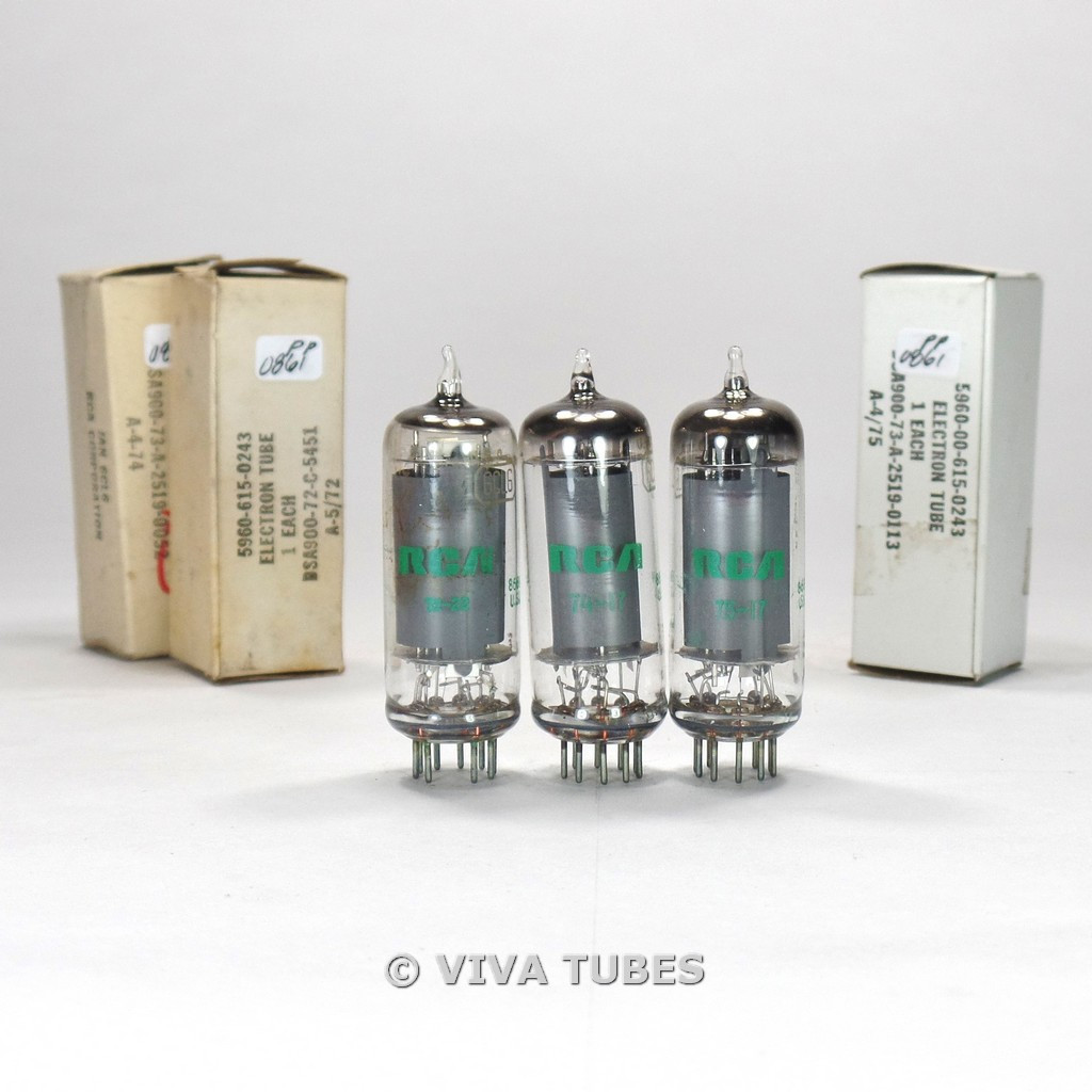 True NOS NIB Matched Trio (3) RCA USA JAN-6CL6 Grey Plate Top O Get Vacuum Tubes