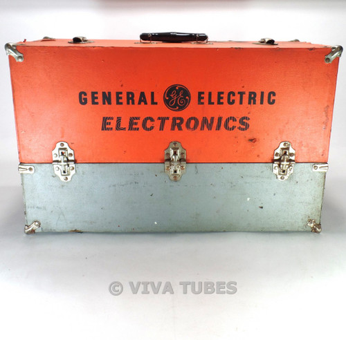 Large Orange- Grey, GE, Vintage Radio TV Vacuum Tube Valve Caddy Carrying Case