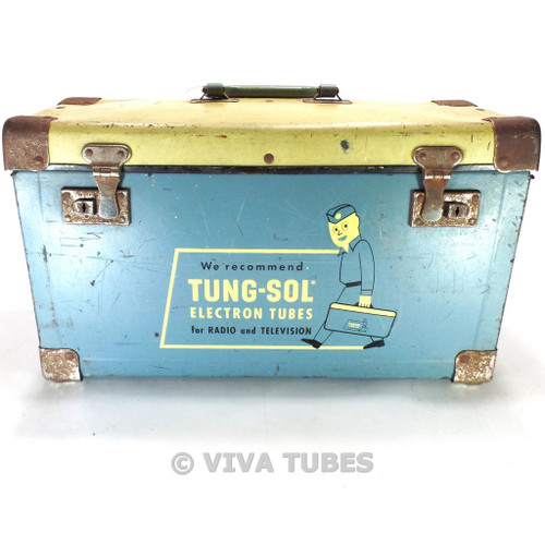 Blue & Cream, Tung-Sol, Vintage Radio TV Vacuum Tube Valve Caddy Carrying Case