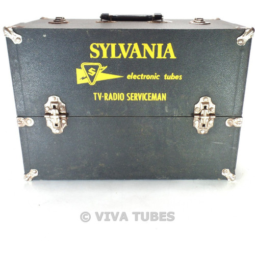 Small, Black, Sylvania, Vintage Radio TV Vacuum Tube  Caddy Carrying Case