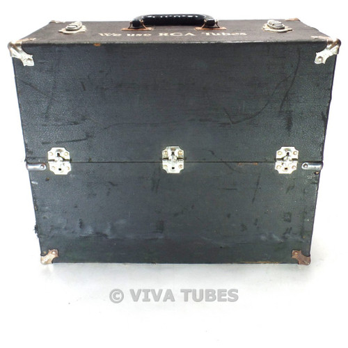 Small, Black, RCA, Vintage Radio TV Vacuum Tube Valve Caddy Carrying Case