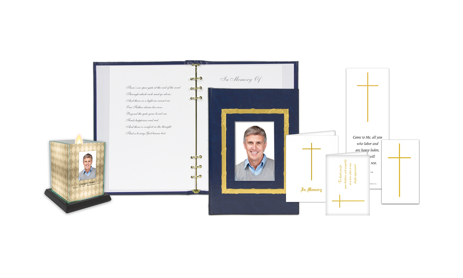 ROL Picture Frame Gold Stamped Border Blue Series 222BLU IC