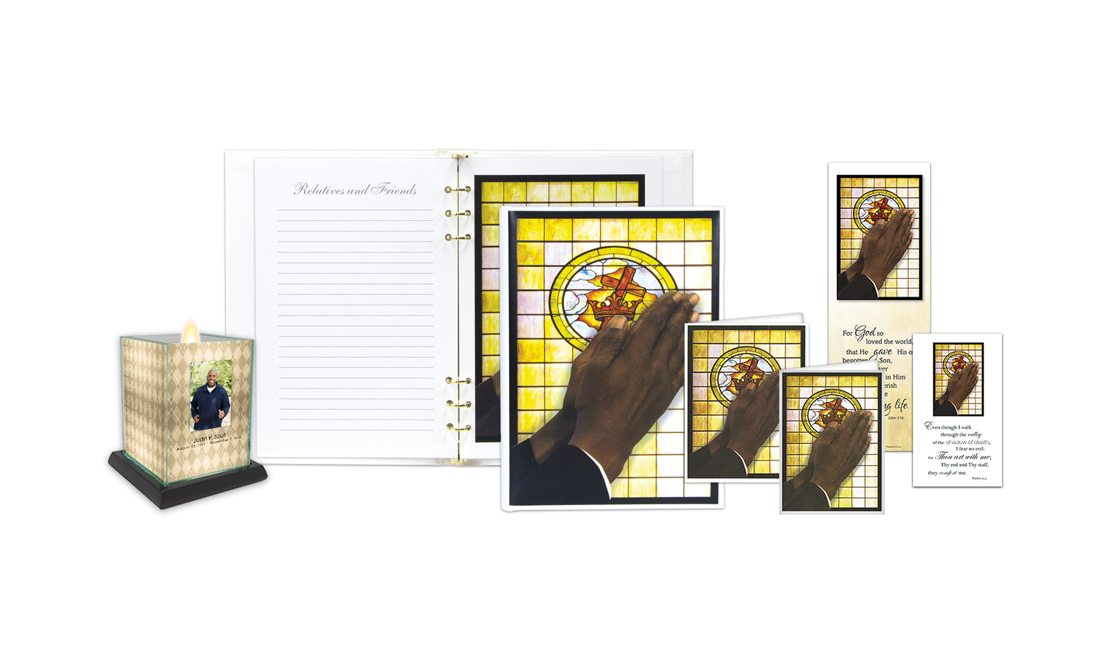 ROL Praying Hands - Male with Stained Glass Window Series 229 IC