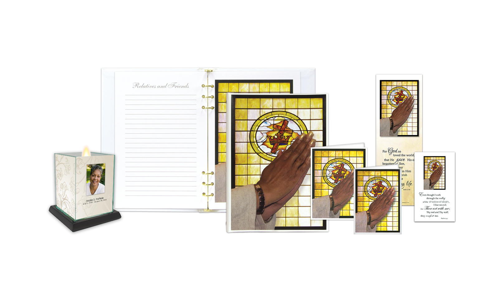 ROL Praying Hands - Female with Stained Glass Window Series 329 IC
