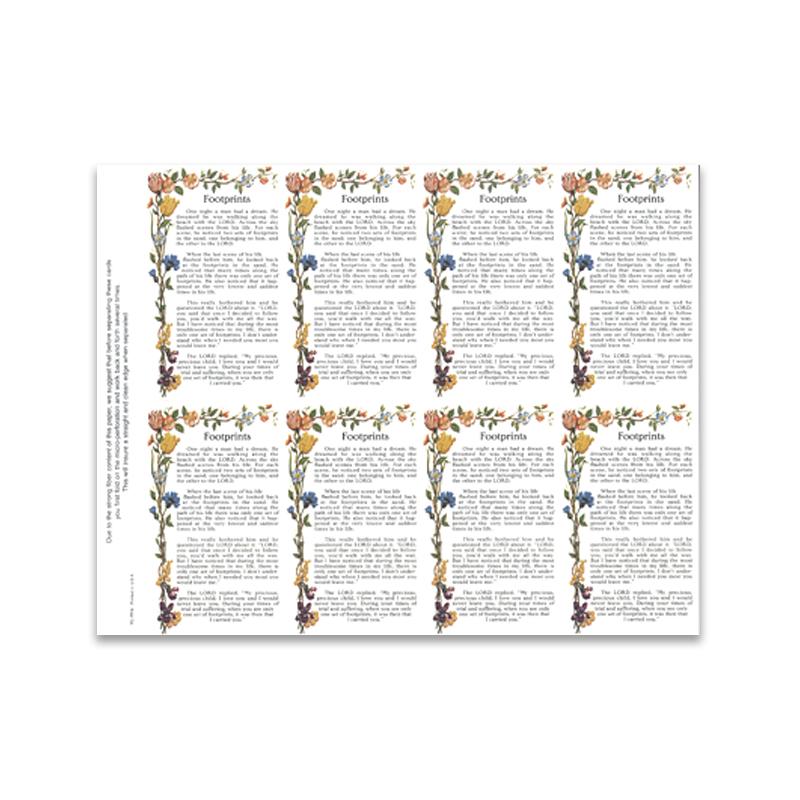 Prayer Cards 8-Up Footprints Verse