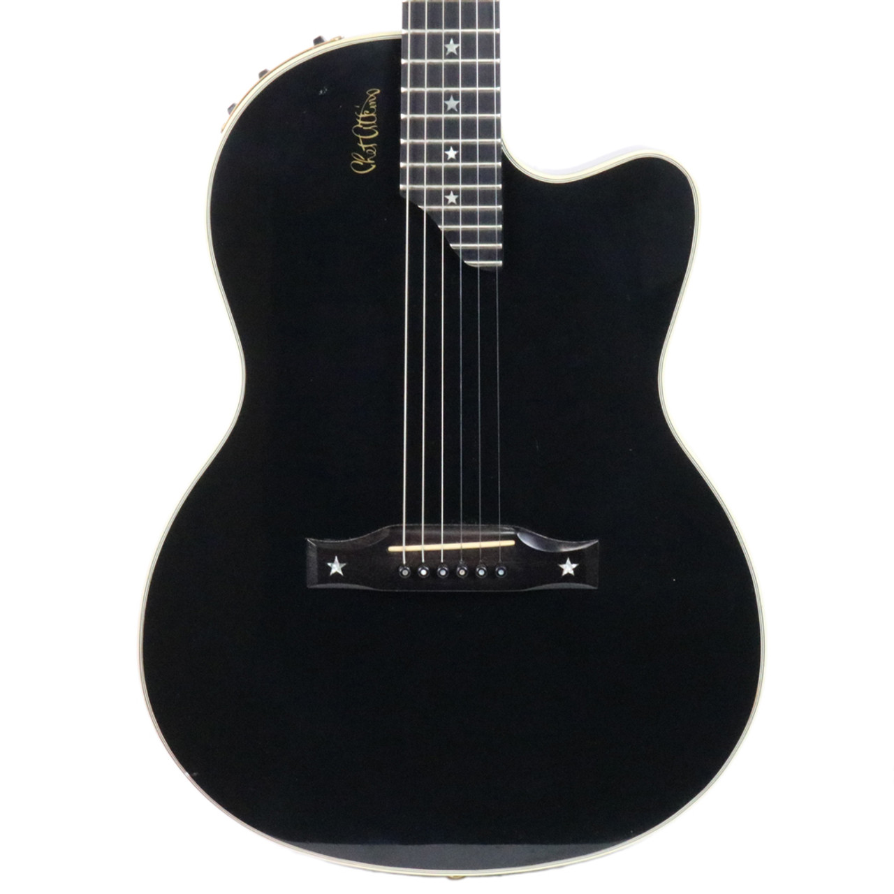 used 1994 gibson chet atkins sst acoustic electric guitar black finish cream city music. Black Bedroom Furniture Sets. Home Design Ideas