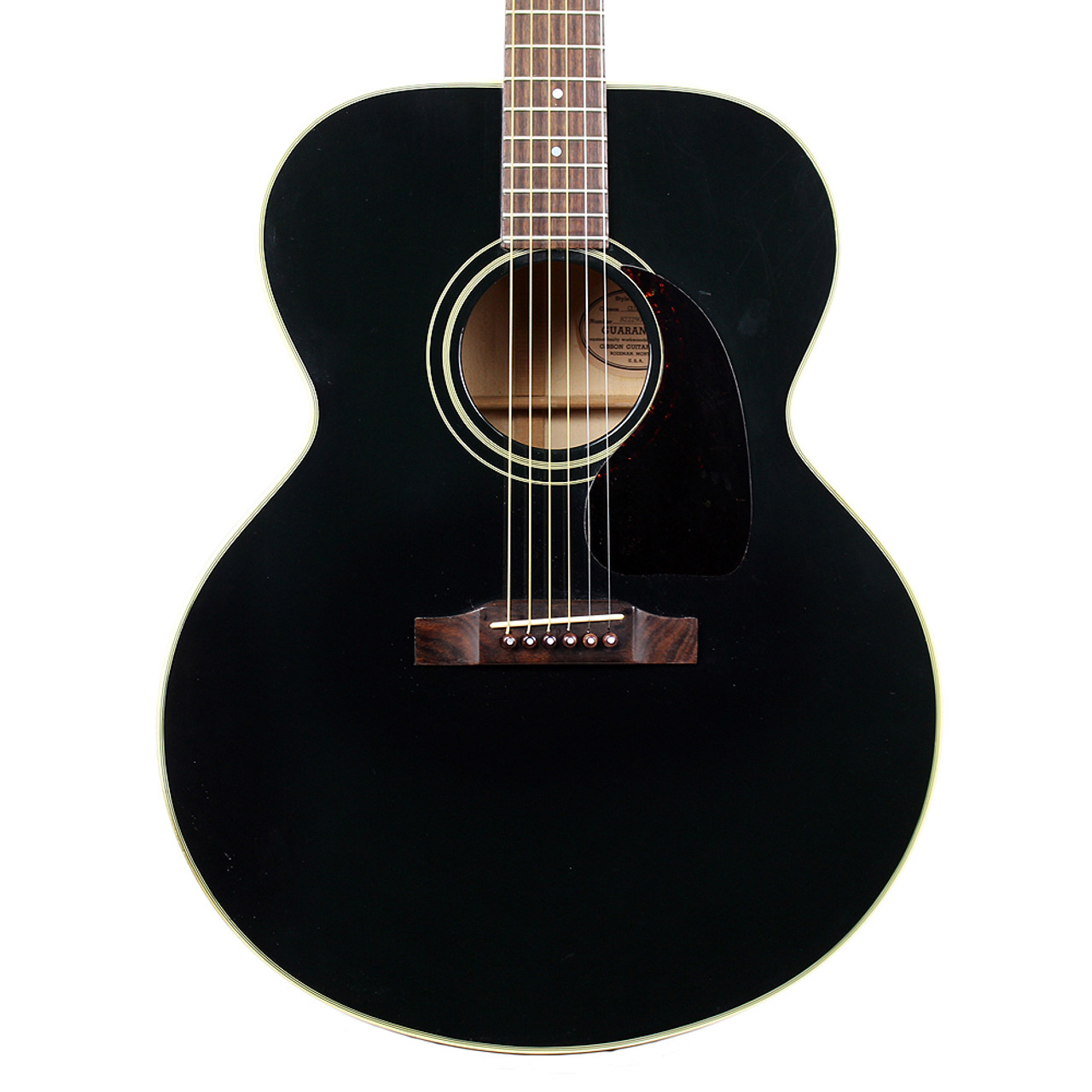 used 1989 gibson j 100 jumbo acoustic guitar black cream city music. Black Bedroom Furniture Sets. Home Design Ideas