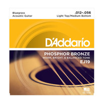 D'Addario EJ19 Bluegrass Acoustic Strings .012-.056