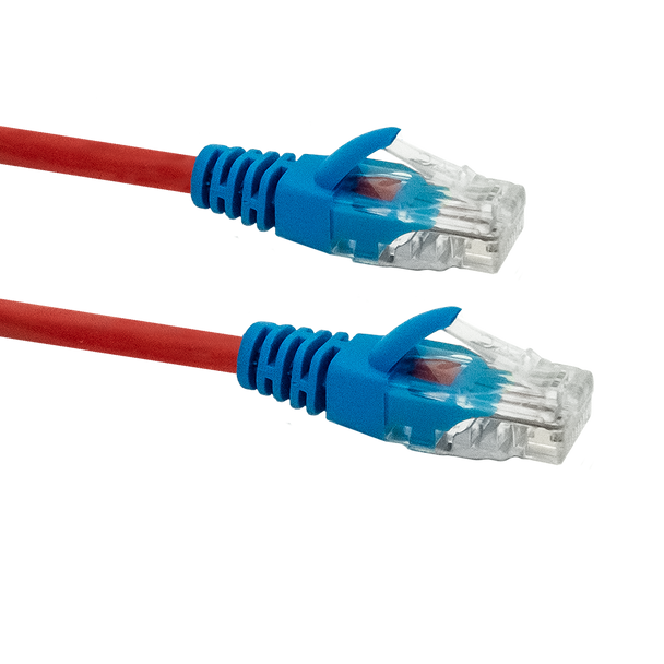 Cat5e Crossover Cable 30m; RED WITH BLUE BOOTS
