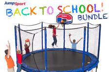 StagedBounce 14' Trampoline, Baskeball Hoop & Ladder Bundle