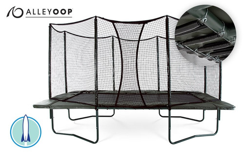 AlleyOOP PowerBounce 10' × 17' Rectangular Trampoline with Enclosure