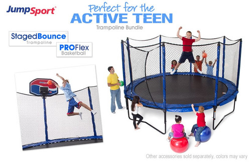 StagedBounce 14' Trampoline & Basketball Hoop Bundle