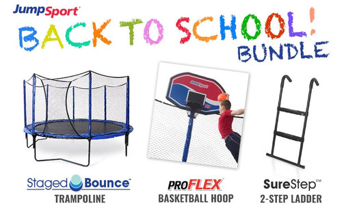 PowerBounce 14' Trampoline, Basketball Hoop & Ladder Bundle