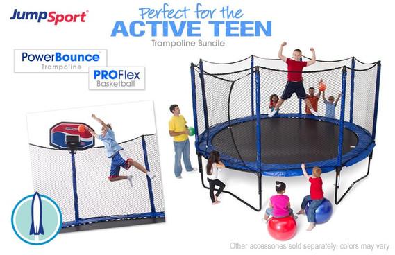 PowerBounce 14' Trampoline & Basketball Hoop Bundle
